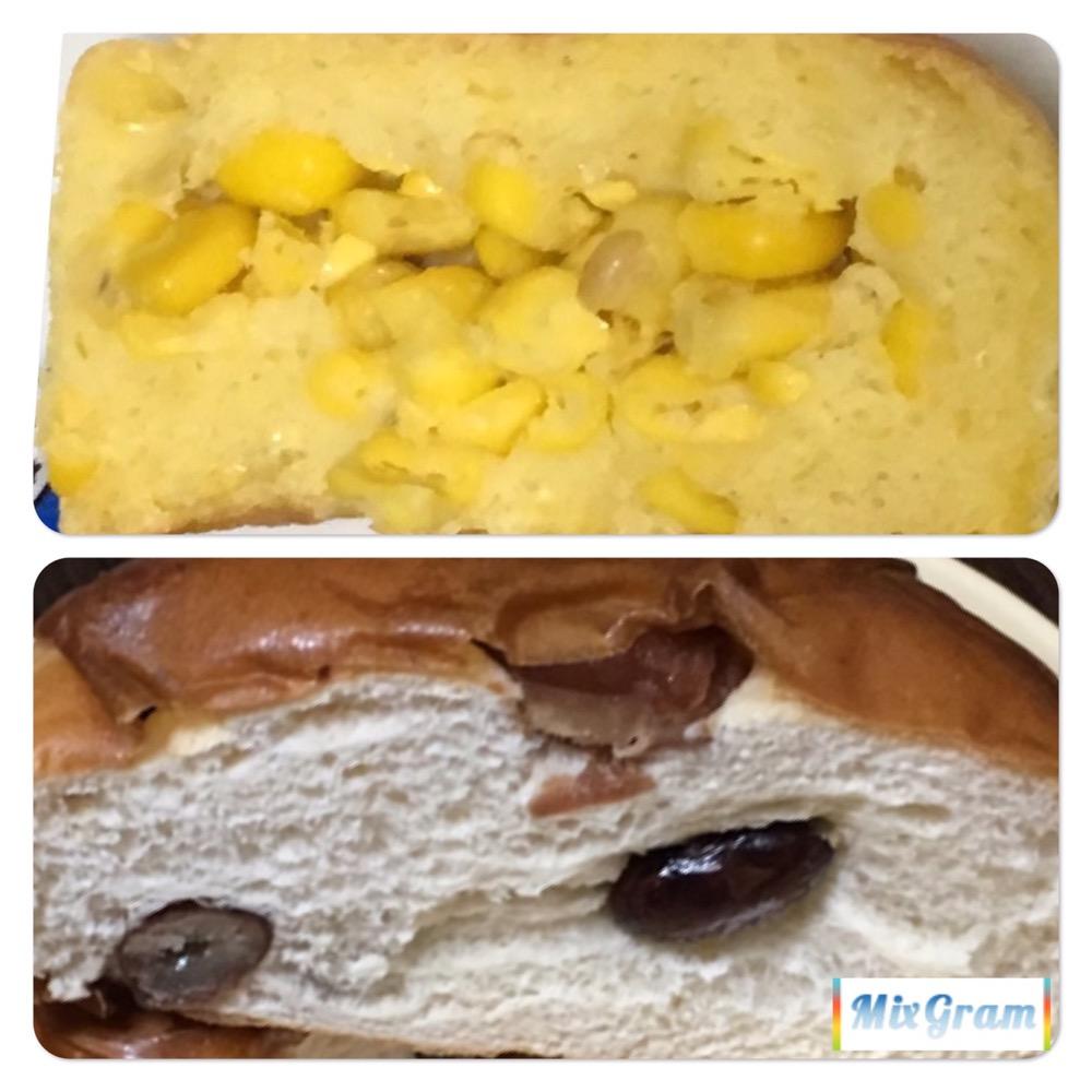 美瑛選果コーンパンと普通のパンの生地の比較