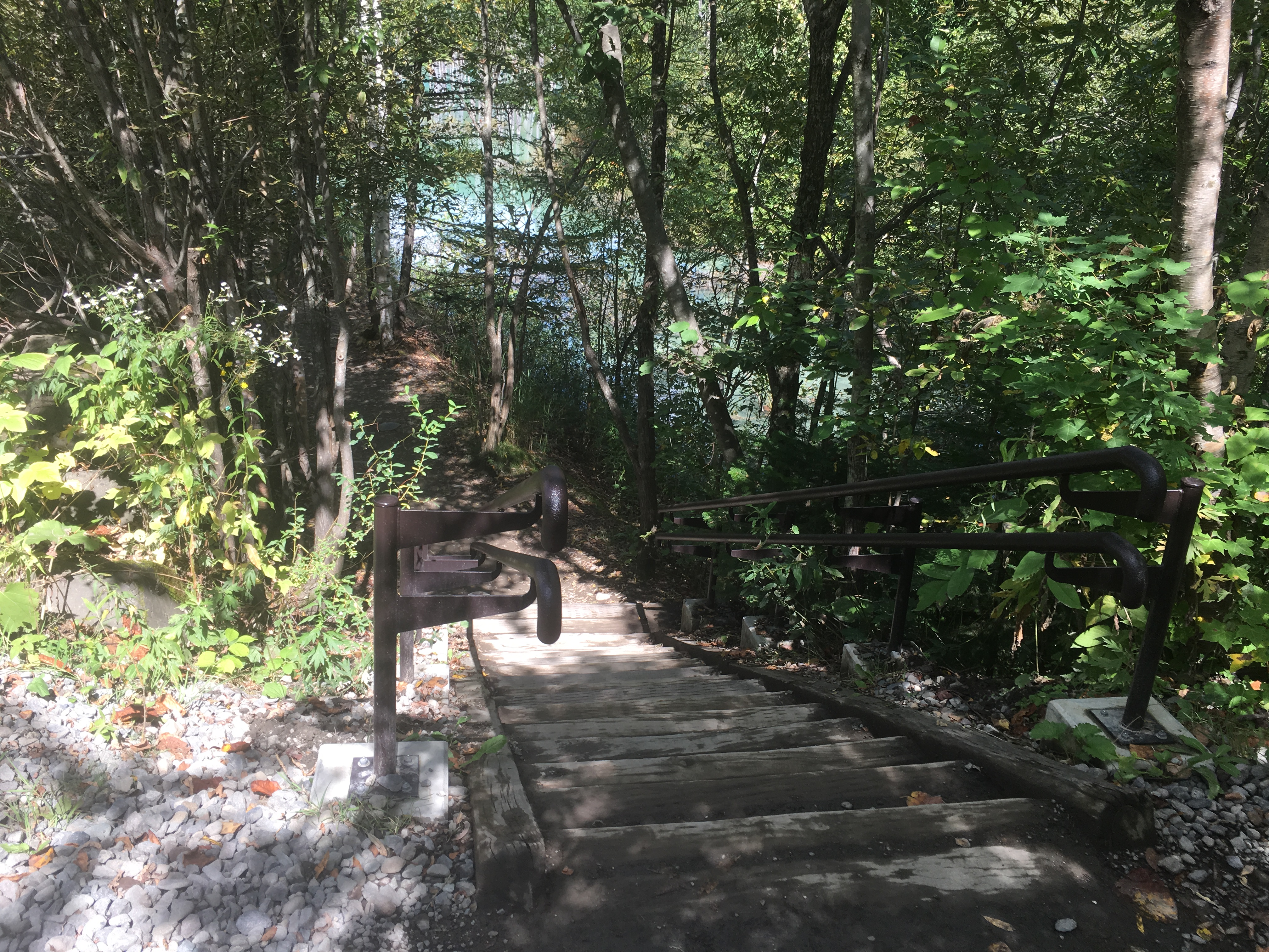 青い池の入口