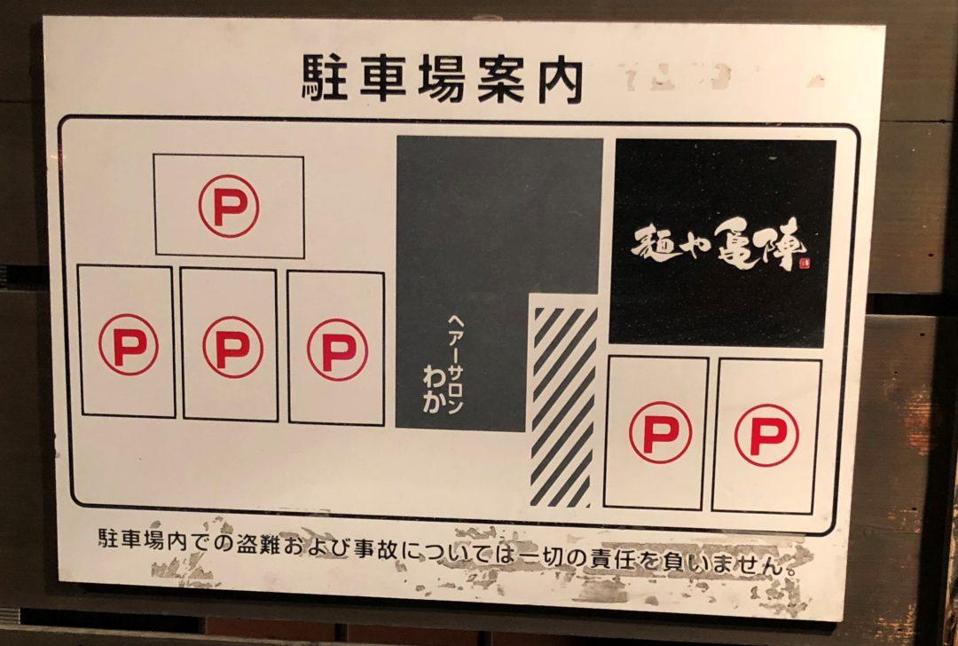 亀陣の駐車場 看板