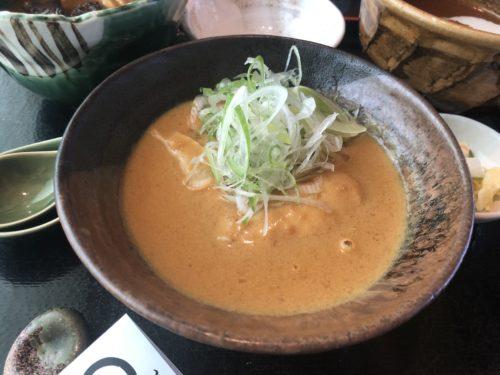 鬼わそとカレーうどん知床鶏の甘口スープ