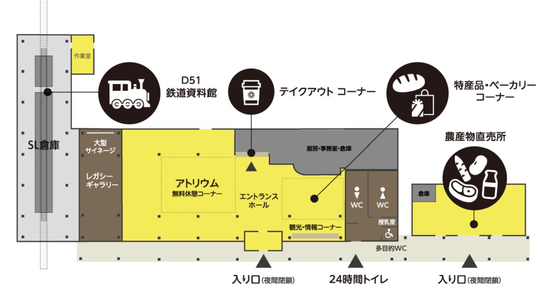 道の駅あびらの店内の案内図