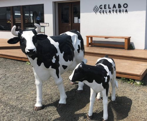 ジェラート屋ジェラボの牛の置物