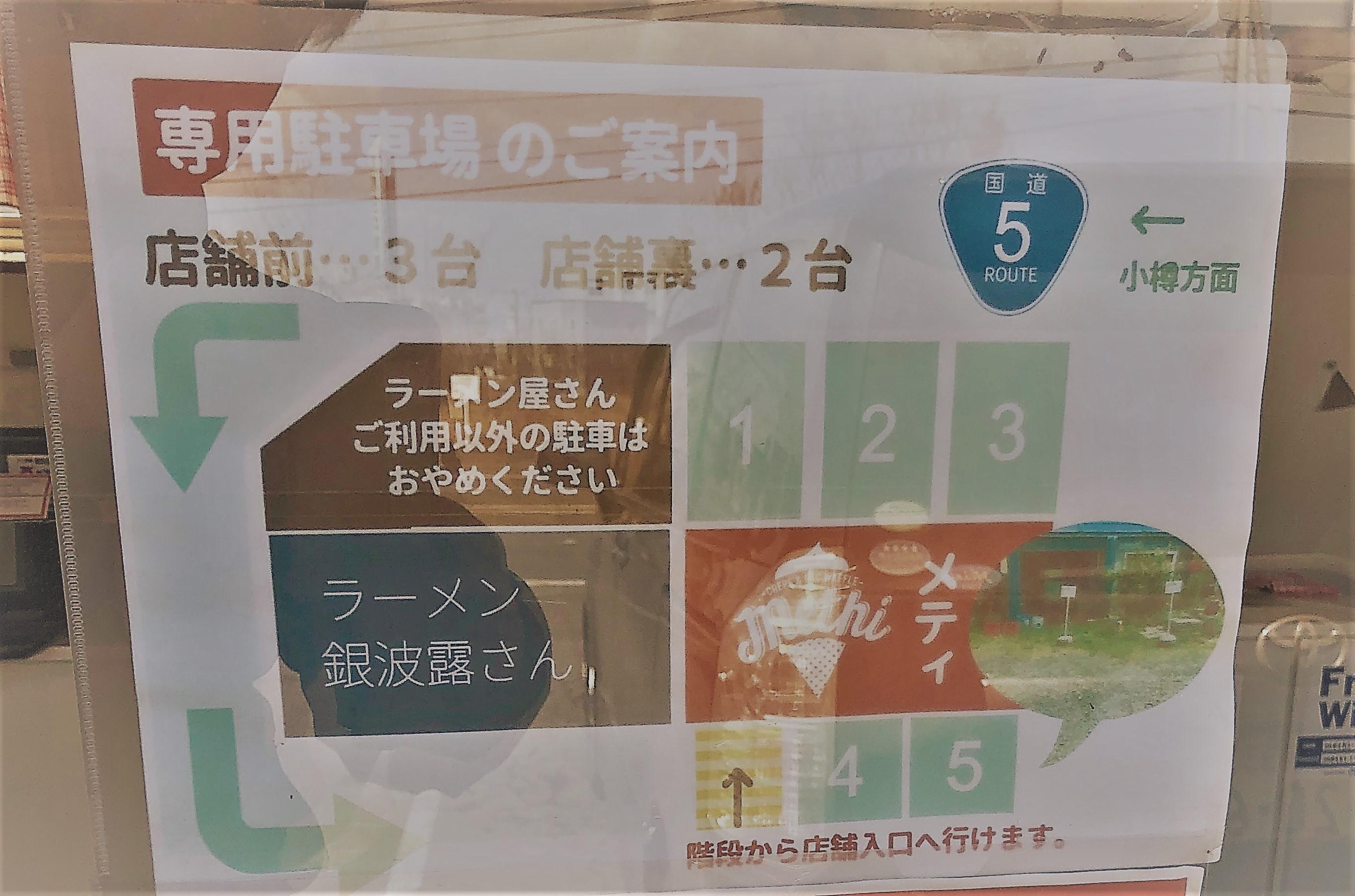 メティの駐車場の案内の貼り紙