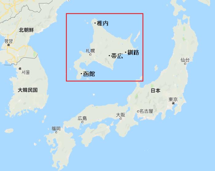北海道と本州と韓国の比較地図