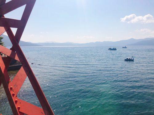 支笏湖の赤い橋 山線鉄橋から支笏湖を見る