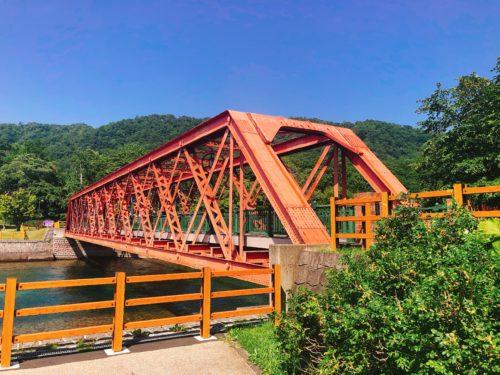 支笏湖の赤い橋 山線鉄橋
