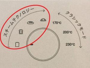 バルミューダ トースターのスチームテクノロジーモードを赤丸印