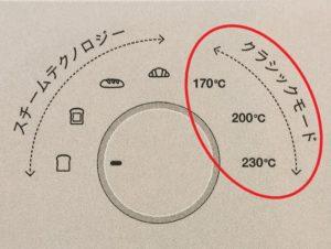 バルミューダ トースターのクラシックモードを赤丸印