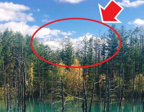 青い池の山が観える所を円で囲って矢印