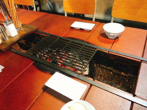 ミウラバーベキューの炭焼き台付きの席