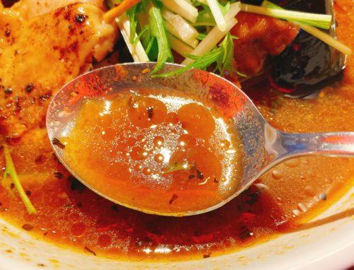 Suage天神のパリパリ知床鶏の野菜カレーのスープ