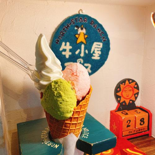 牛小屋のアイスの2種類&ソフトクリーム