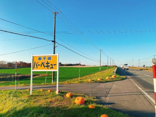 真っ直ぐな一本道の左側に東千歳バーベキューの黄色い看板