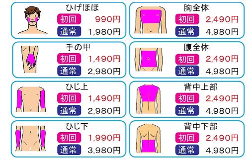 札幌脱毛サロンBLOW(ブロウ)の料金表