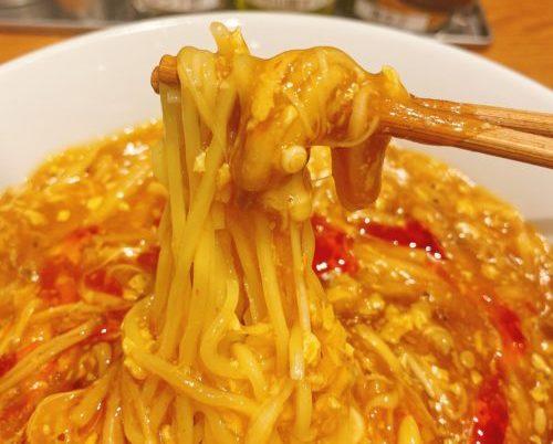 銀座 蝋燭屋札幌店の酸辣湯麺の麺を箸で持った