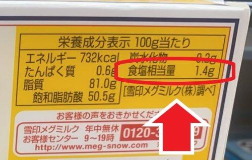 栄養成分表示100g当たり 食塩が1.4g相当量 雪印