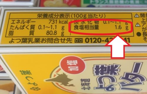 栄養成分表示100g当たり 食塩が1.6g相当量 よつ葉