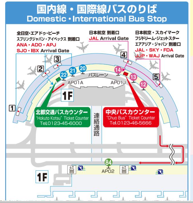 新千歳空港 ターミナル1階の北都交通と北海道中央バスのカウンター案内図