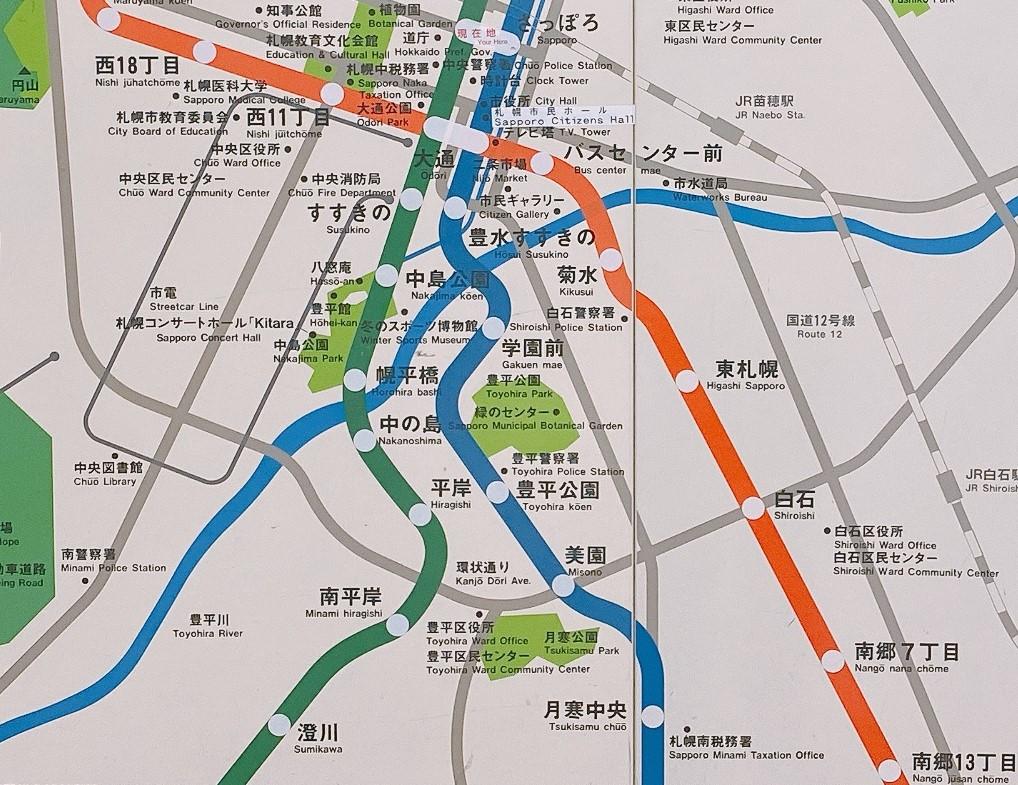 札幌地下鉄の沿線図