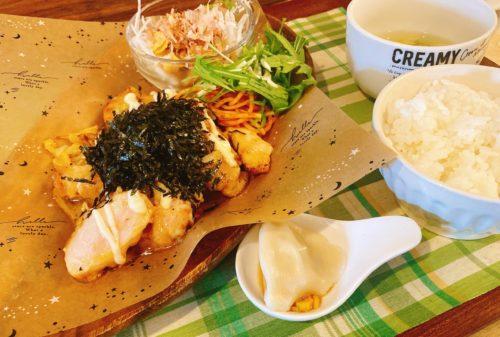 うまごやカフェの味噌チキンマヨランチ